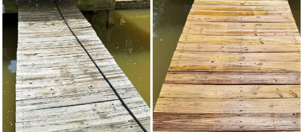 Pressure Washing - Dock BEFORE & AFTER
